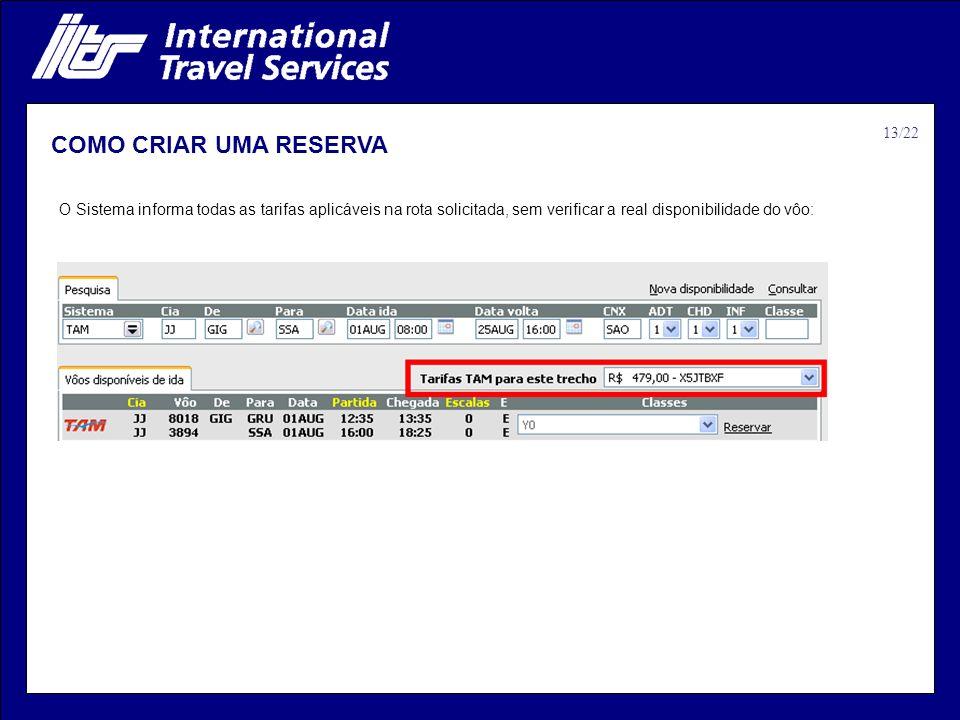 COMO CRIAR UMA RESERVA O Sistema informa todas as tarifas aplicáveis na rota solicitada, sem verificar a real disponibilidade do vôo: 13/22