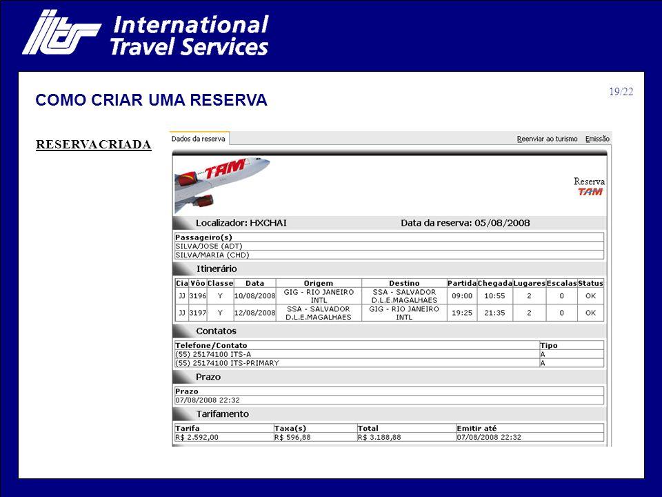 COMO CRIAR UMA RESERVA RESERVA CRIADA 19/22