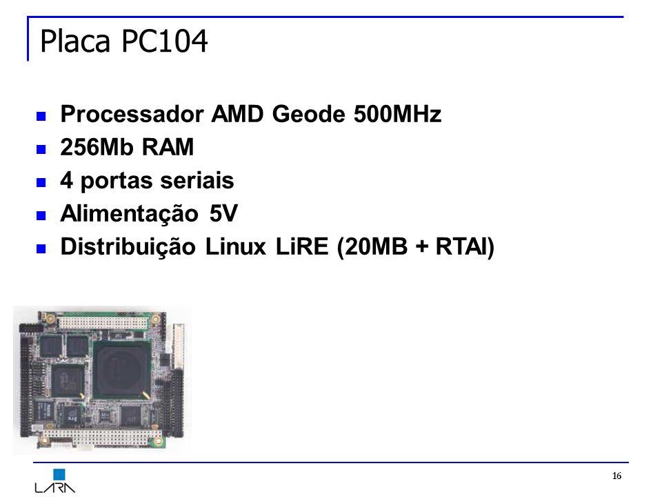 16 Placa PC104 Processador AMD Geode 500MHz 256Mb RAM 4 portas seriais Alimentação 5V Distribuição Linux LiRE (20MB + RTAI)
