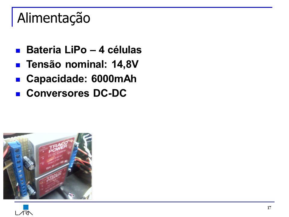 17 Alimentação Bateria LiPo – 4 células Tensão nominal: 14,8V Capacidade: 6000mAh Conversores DC-DC