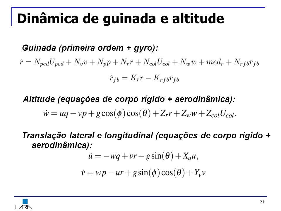 Dinâmica de guinada e altitude 21 Guinada (primeira ordem + gyro): Altitude (equações de corpo rígido + aerodinâmica): Translação lateral e longitudinal (equações de corpo rígido + aerodinâmica):