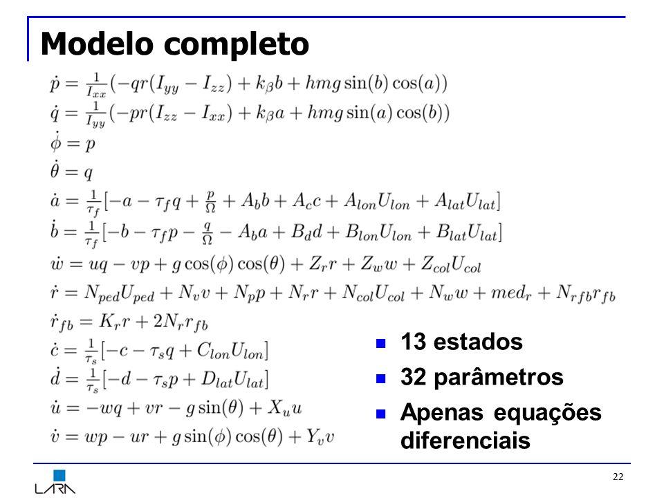 Modelo completo 22 13 estados 32 parâmetros Apenas equações diferenciais