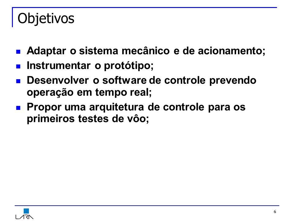 6 Objetivos Adaptar o sistema mecânico e de acionamento; Instrumentar o protótipo; Desenvolver o software de controle prevendo operação em tempo real; Propor uma arquitetura de controle para os primeiros testes de vôo;