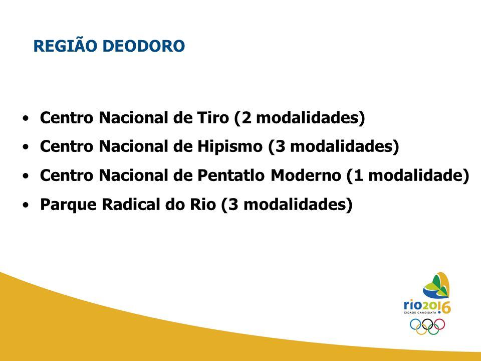 Centro Nacional de Tiro (2 modalidades) Centro Nacional de Hipismo (3 modalidades) Centro Nacional de Pentatlo Moderno (1 modalidade) Parque Radical d