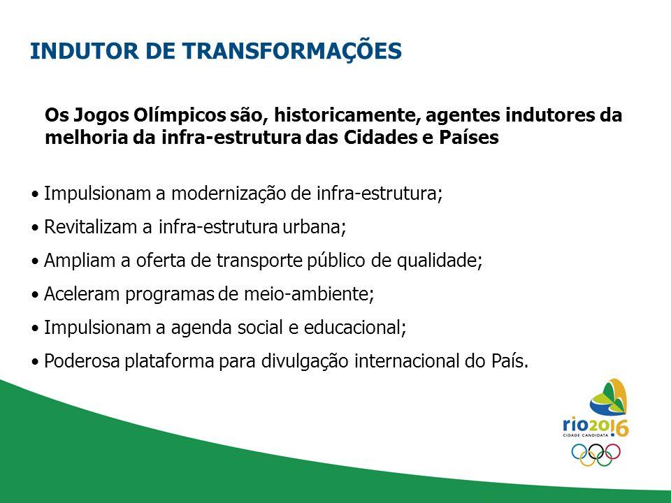 Os Jogos Olímpicos são, historicamente, agentes indutores da melhoria da infra-estrutura das Cidades e Países Impulsionam a modernização de infra-estr