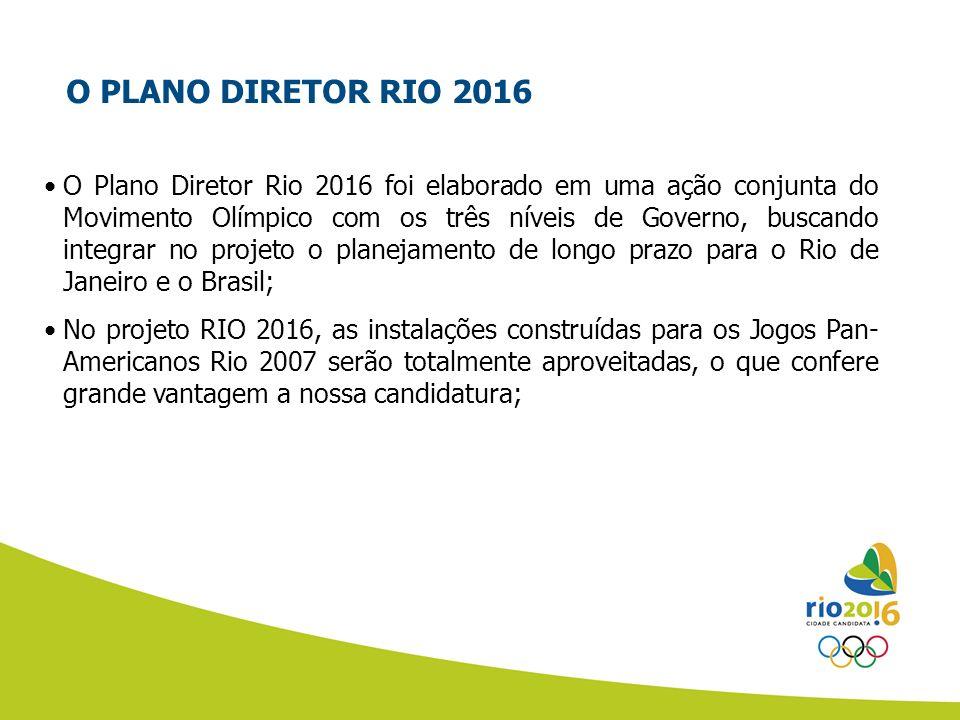 O PLANO DIRETOR RIO 2016 O Plano Diretor Rio 2016 foi elaborado em uma ação conjunta do Movimento Olímpico com os três níveis de Governo, buscando int