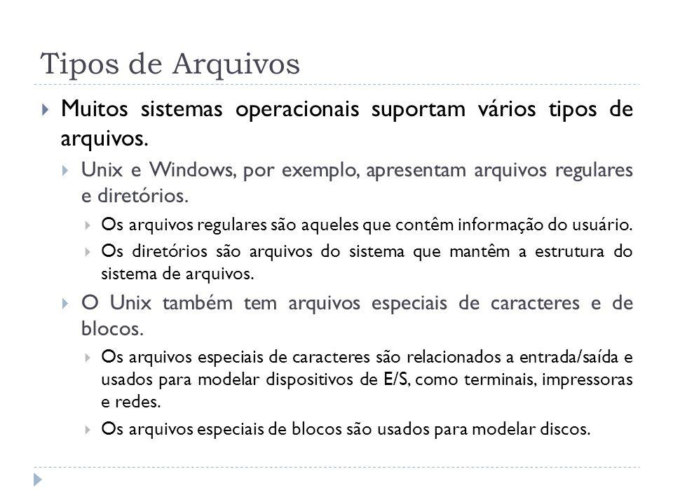 Tipos de Arquivos Muitos sistemas operacionais suportam vários tipos de arquivos. Unix e Windows, por exemplo, apresentam arquivos regulares e diretór