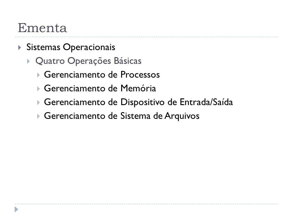 Ementa Sistemas Operacionais Quatro Operações Básicas Gerenciamento de Processos Gerenciamento de Memória Gerenciamento de Dispositivo de Entrada/Saída Gerenciamento de Sistema de Arquivos