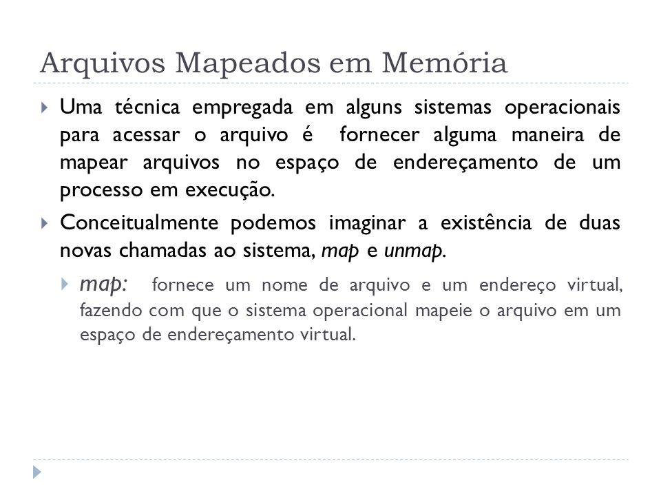 Arquivos Mapeados em Memória Uma técnica empregada em alguns sistemas operacionais para acessar o arquivo é fornecer alguma maneira de mapear arquivos no espaço de endereçamento de um processo em execução.