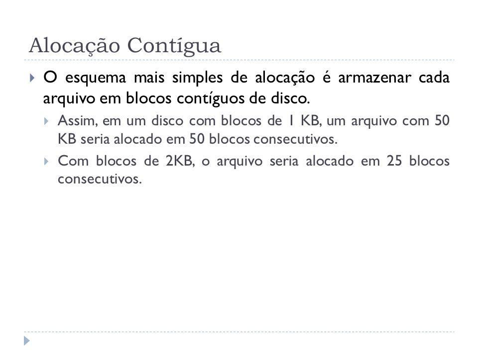 Alocação Contígua O esquema mais simples de alocação é armazenar cada arquivo em blocos contíguos de disco. Assim, em um disco com blocos de 1 KB, um