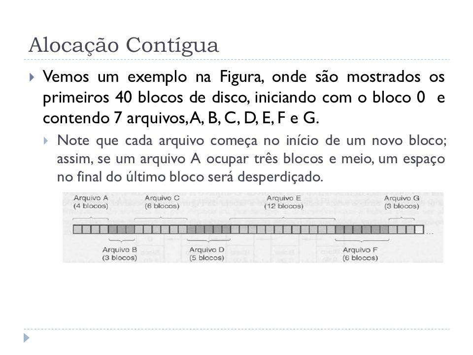 Alocação Contígua Vemos um exemplo na Figura, onde são mostrados os primeiros 40 blocos de disco, iniciando com o bloco 0 e contendo 7 arquivos, A, B,