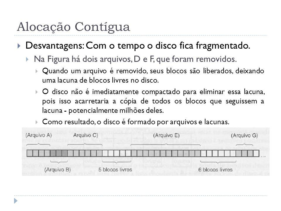 Alocação Contígua Desvantagens: Com o tempo o disco fica fragmentado. Na Figura há dois arquivos, D e F, que foram removidos. Quando um arquivo é remo