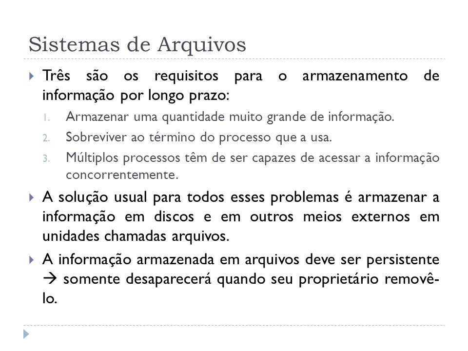 Sistemas de Arquivos Três são os requisitos para o armazenamento de informação por longo prazo: 1. Armazenar uma quantidade muito grande de informação