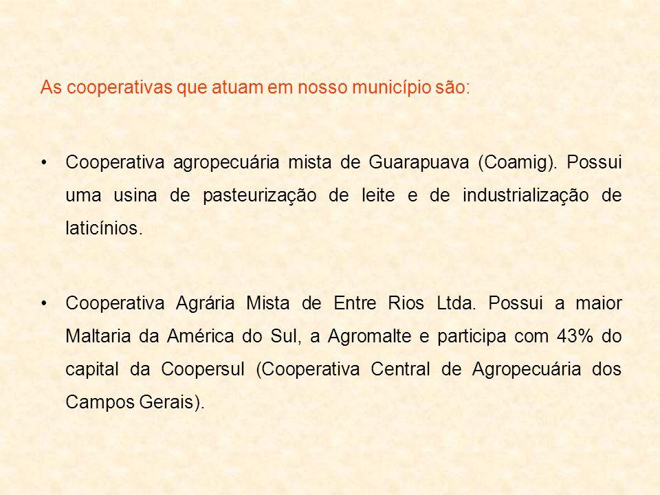 As cooperativas que atuam em nosso município são: Cooperativa agropecuária mista de Guarapuava (Coamig). Possui uma usina de pasteurização de leite e