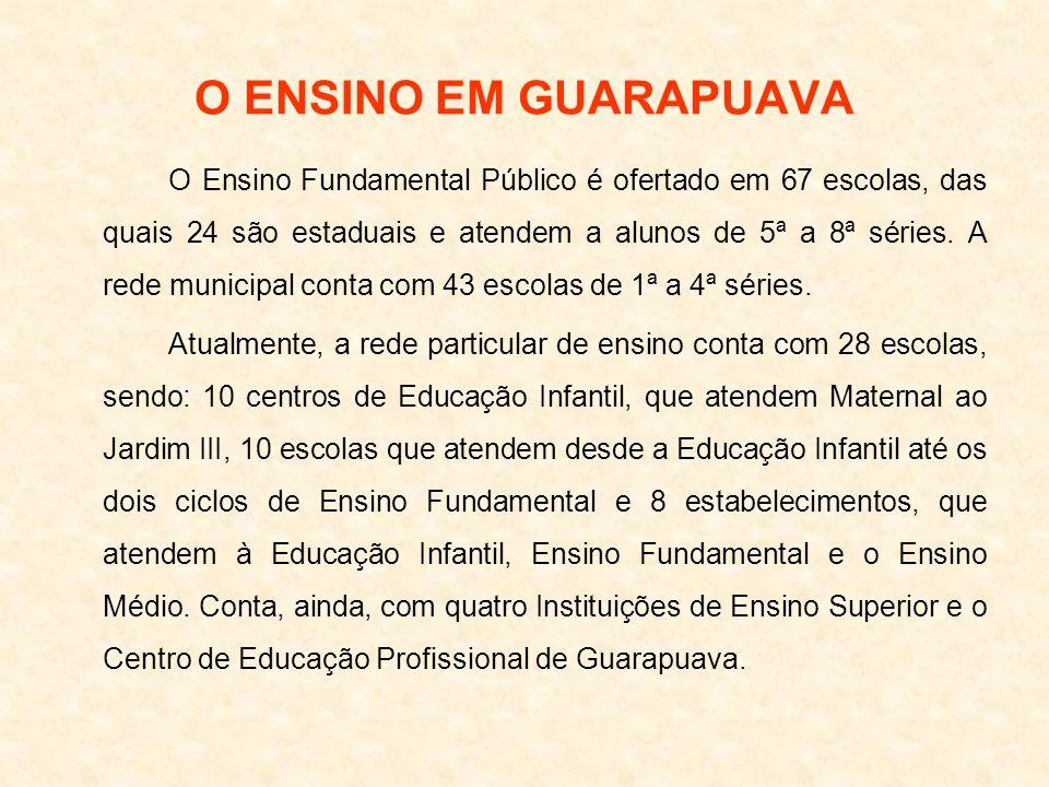 O ENSINO EM GUARAPUAVA O Ensino Fundamental Público é ofertado em 67 escolas, das quais 24 são estaduais e atendem a alunos de 5ª a 8ª séries. A rede