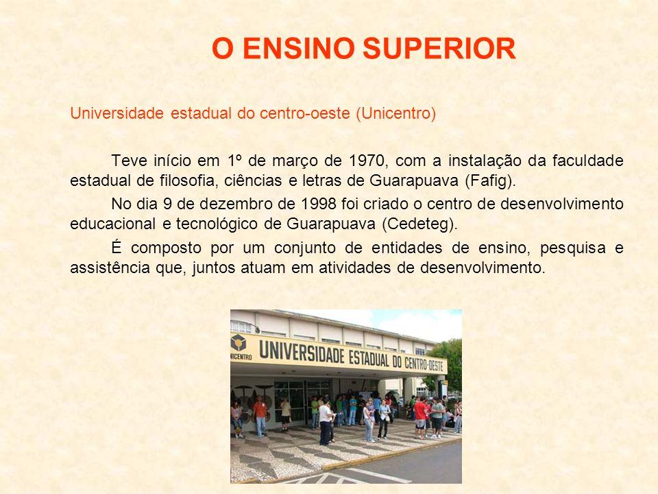 Universidade estadual do centro-oeste (Unicentro) Teve início em 1º de março de 1970, com a instalação da faculdade estadual de filosofia, ciências e