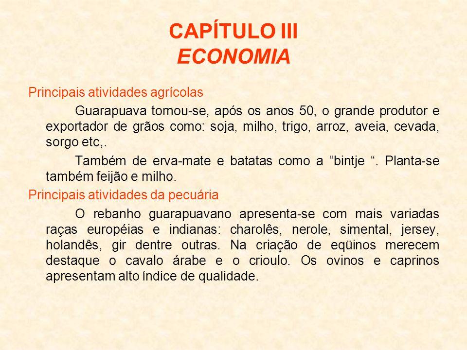 CAPÍTULO III ECONOMIA Principais atividades agrícolas Guarapuava tornou-se, após os anos 50, o grande produtor e exportador de grãos como: soja, milho