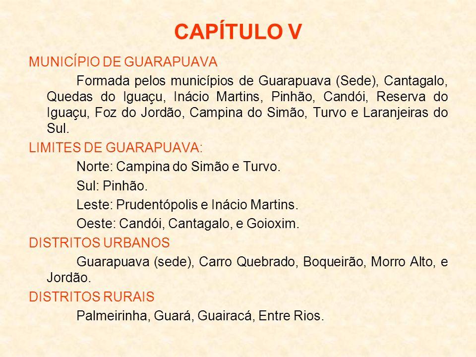 CAPÍTULO V MUNICÍPIO DE GUARAPUAVA Formada pelos municípios de Guarapuava (Sede), Cantagalo, Quedas do Iguaçu, Inácio Martins, Pinhão, Candói, Reserva