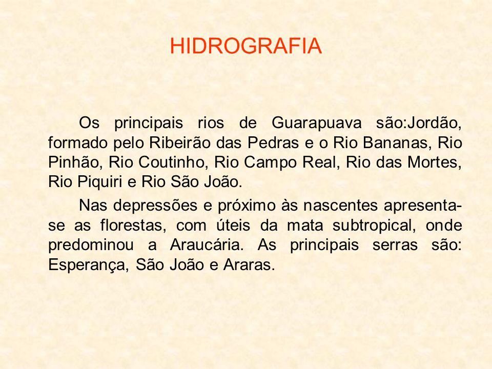 HIDROGRAFIA Os principais rios de Guarapuava são:Jordão, formado pelo Ribeirão das Pedras e o Rio Bananas, Rio Pinhão, Rio Coutinho, Rio Campo Real, R