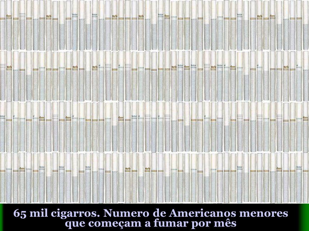 65 mil cigarros. Numero de Americanos menores que começam a fumar por mês
