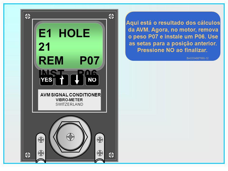 99 YESNO VIBRO-METER SWITZERLAND AVM SIGNAL CONDITIONER E1 HOLE 10 REM P06 INST P07 Aqui está o resultado dos cálculos da AVM.