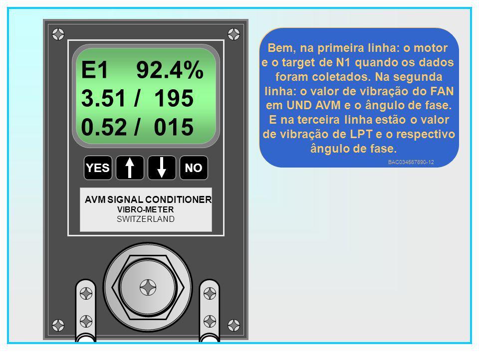 71 YESNO VIBRO-METER SWITZERLAND AVM SIGNAL CONDITIONER E1 93.0% 3.51 / 195 0.52 / 015 Bem, na primeira linha: o motor e o target de N1 quando os dados foram coletados.