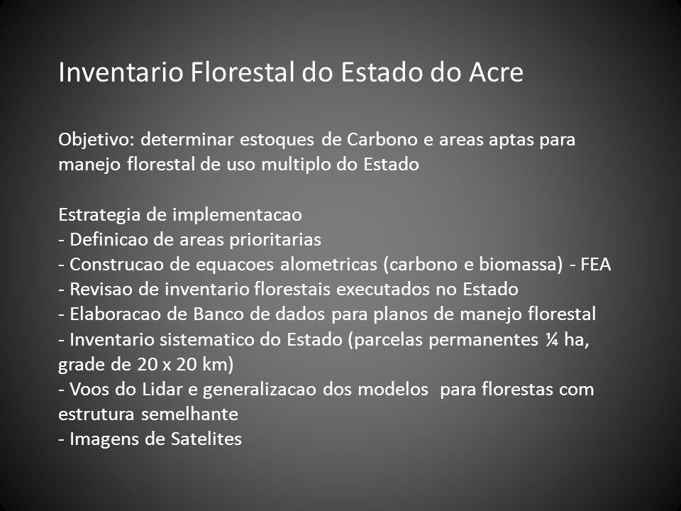 Inventario Florestal do Estado do Acre Objetivo: determinar estoques de Carbono e areas aptas para manejo florestal de uso multiplo do Estado Estrateg