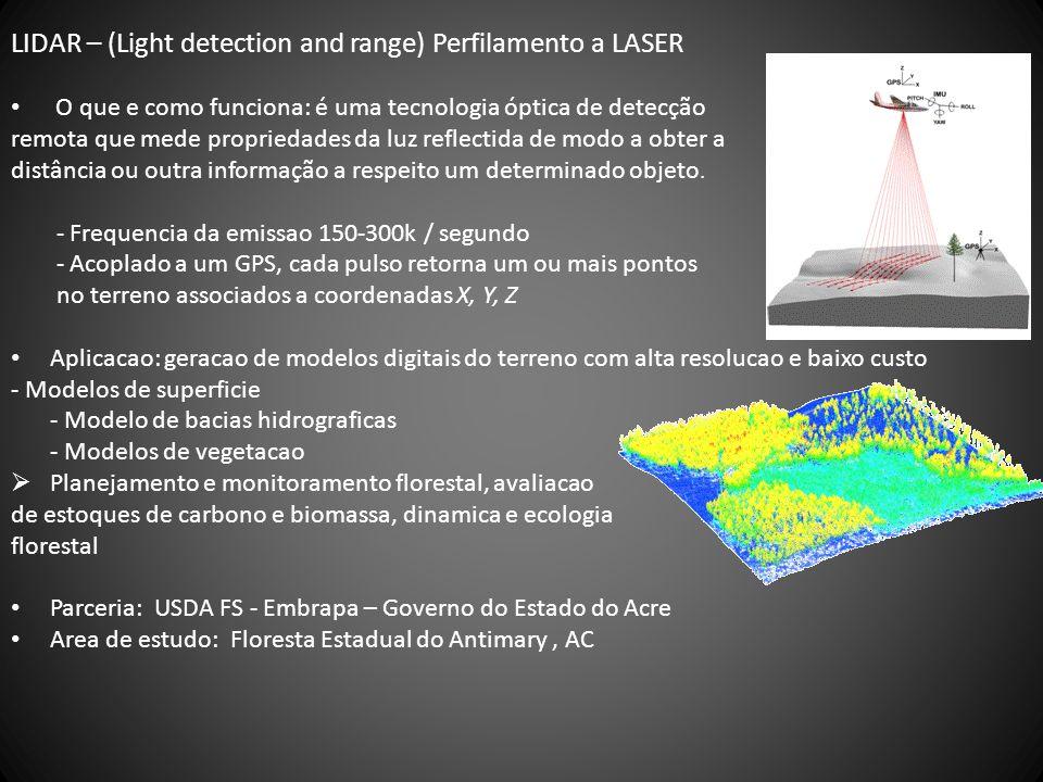 LIDAR – (Light detection and range) Perfilamento a LASER O que e como funciona: é uma tecnologia óptica de detecção remota que mede propriedades da luz reflectida de modo a obter a distância ou outra informação a respeito um determinado objeto.