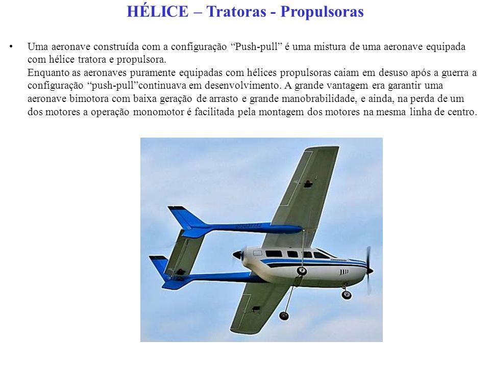 HÉLICE – Tratoras - Propulsoras Uma aeronave construída com a configuração Push-pull é uma mistura de uma aeronave equipada com hélice tratora e propulsora.