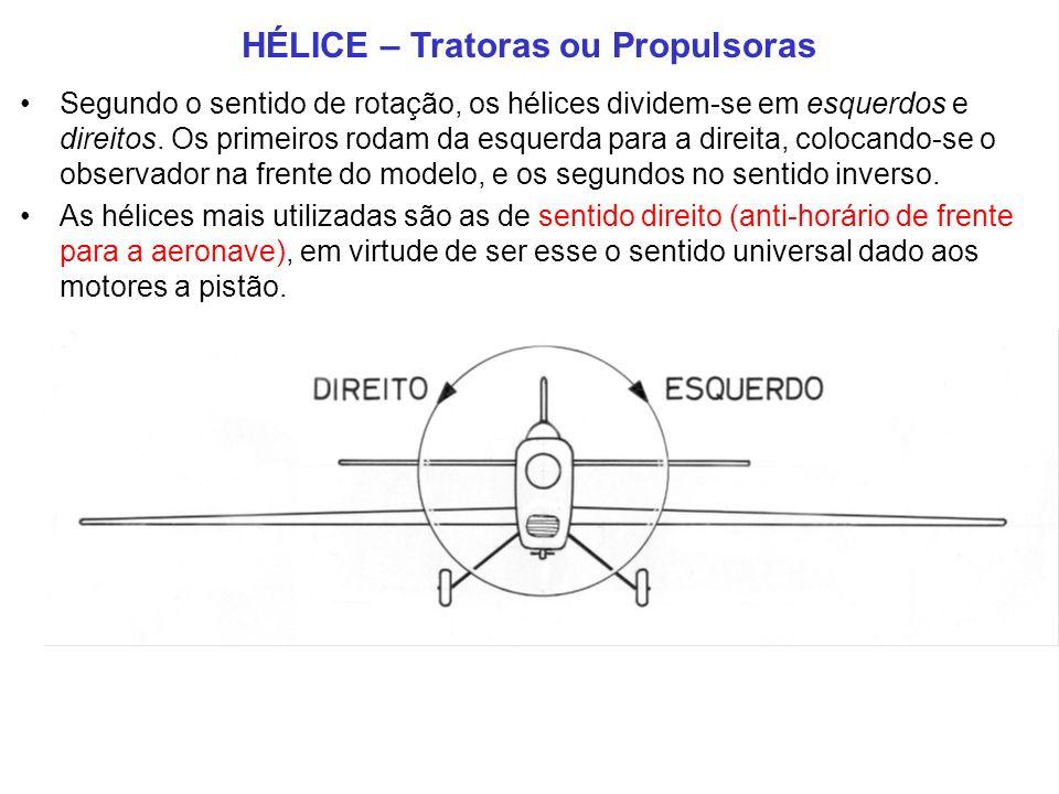 HÉLICE – Tratoras ou Propulsoras Segundo o sentido de rotação, os hélices dividem-se em esquerdos e direitos.