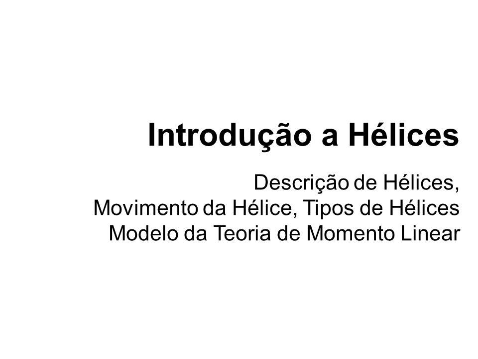 Introdução a Hélices Descrição de Hélices, Movimento da Hélice, Tipos de Hélices Modelo da Teoria de Momento Linear