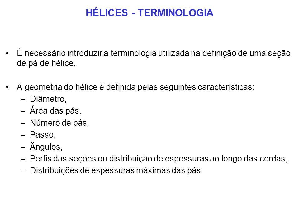 HÉLICES - TERMINOLOGIA É necessário introduzir a terminologia utilizada na definição de uma seção de pá de hélice.