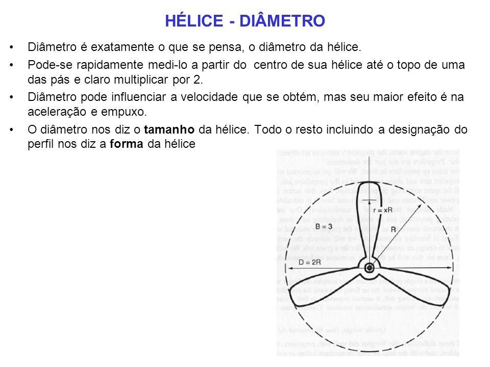 HÉLICE - DIÂMETRO Diâmetro é exatamente o que se pensa, o diâmetro da hélice.