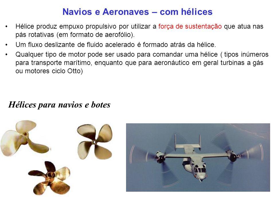 Navios e Aeronaves – com hélices Hélice produz empuxo propulsivo por utilizar a força de sustentação que atua nas pás rotativas (em formato de aerofólio).