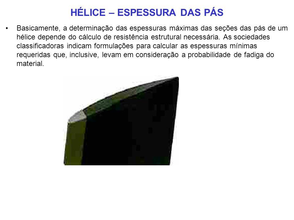 HÉLICE – ESPESSURA DAS PÁS Basicamente, a determinação das espessuras máximas das seções das pás de um hélice depende do cálculo de resistência estrutural necessária.