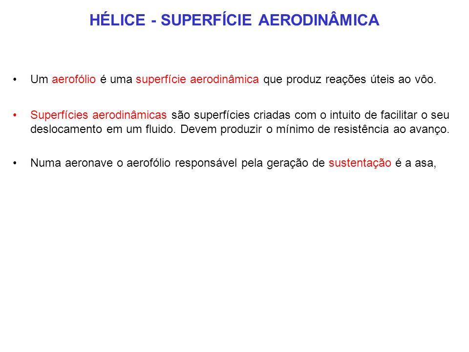 HÉLICE - SUPERFÍCIE AERODINÂMICA Um aerofólio é uma superfície aerodinâmica que produz reações úteis ao vôo.