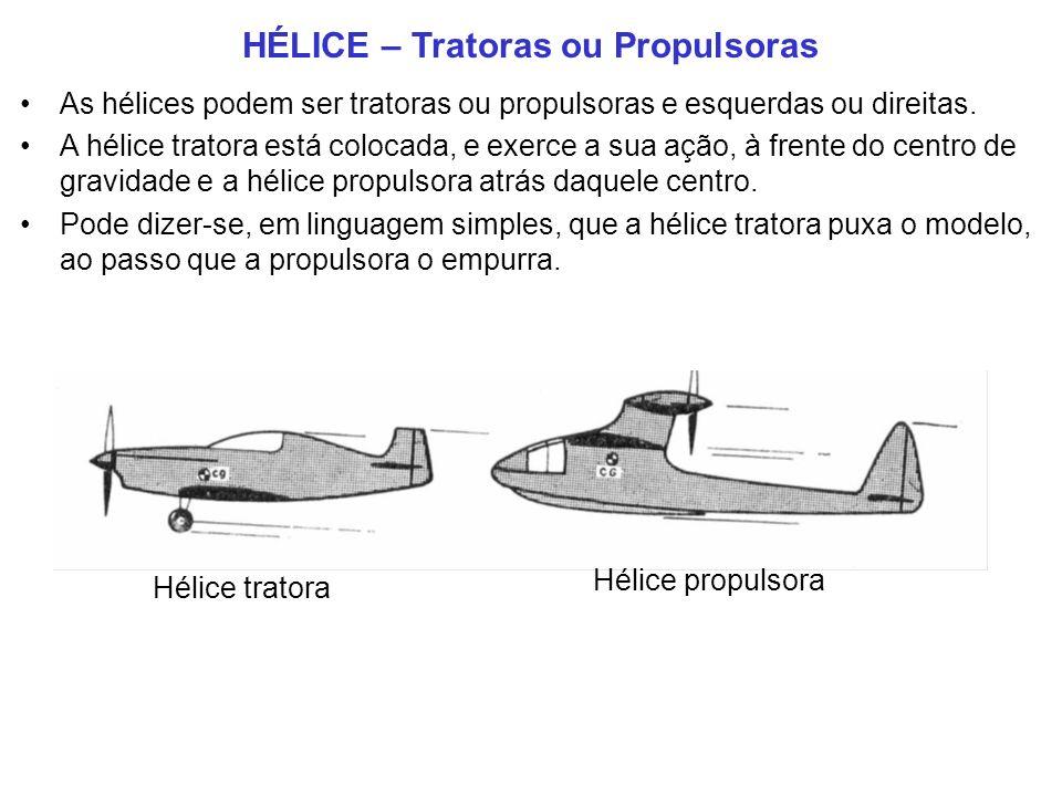 HÉLICE – Tratoras ou Propulsoras As hélices podem ser tratoras ou propulsoras e esquerdas ou direitas.
