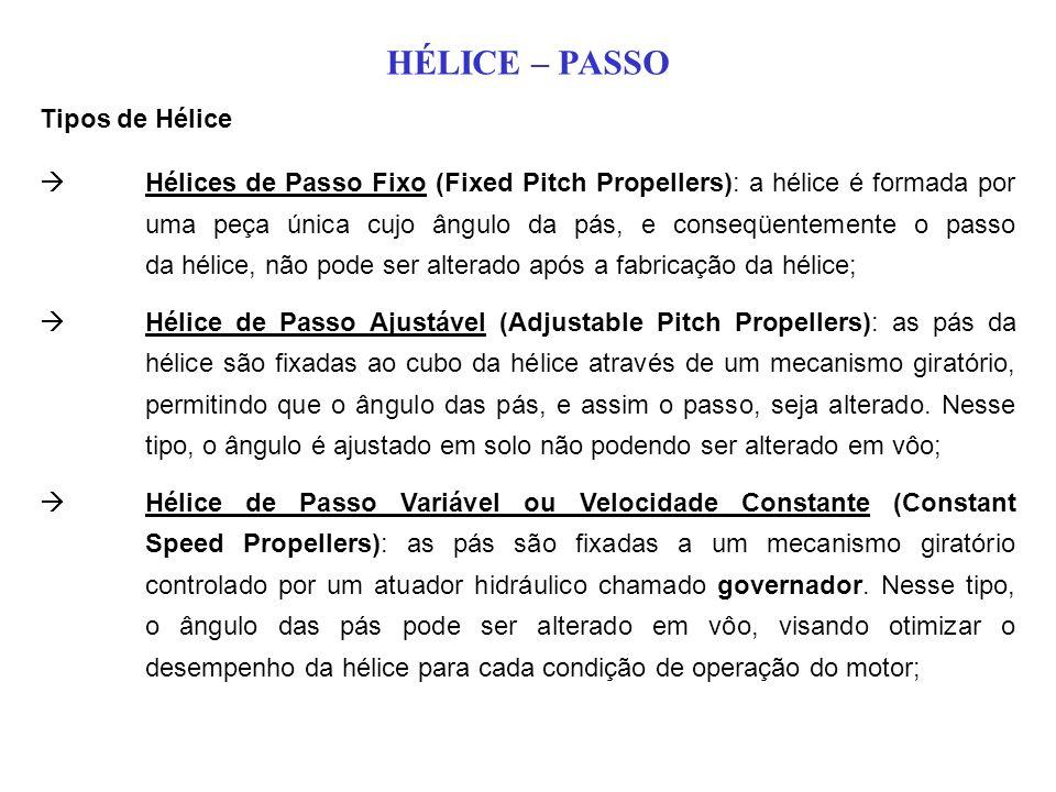 Hélices de Passo Fixo (Fixed Pitch Propellers): a hélice é formada por uma peça única cujo ângulo da pás, e conseqüentemente o passo da hélice, não pode ser alterado após a fabricação da hélice; Hélice de Passo Ajustável (Adjustable Pitch Propellers): as pás da hélice são fixadas ao cubo da hélice através de um mecanismo giratório, permitindo que o ângulo das pás, e assim o passo, seja alterado.