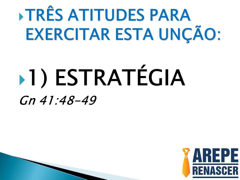 TRÊS ATITUDES PARA EXERCITAR ESTA UNÇÃO: TRÊS ATITUDES PARA EXERCITAR ESTA UNÇÃO: 1) ESTRATÉGIA Gn 41:48-49