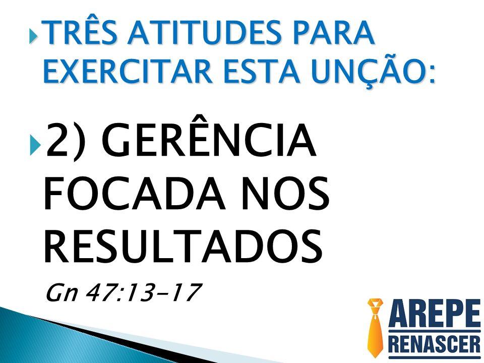 TRÊS ATITUDES PARA EXERCITAR ESTA UNÇÃO: TRÊS ATITUDES PARA EXERCITAR ESTA UNÇÃO: 2) GERÊNCIA FOCADA NOS RESULTADOS Gn 47:13-17