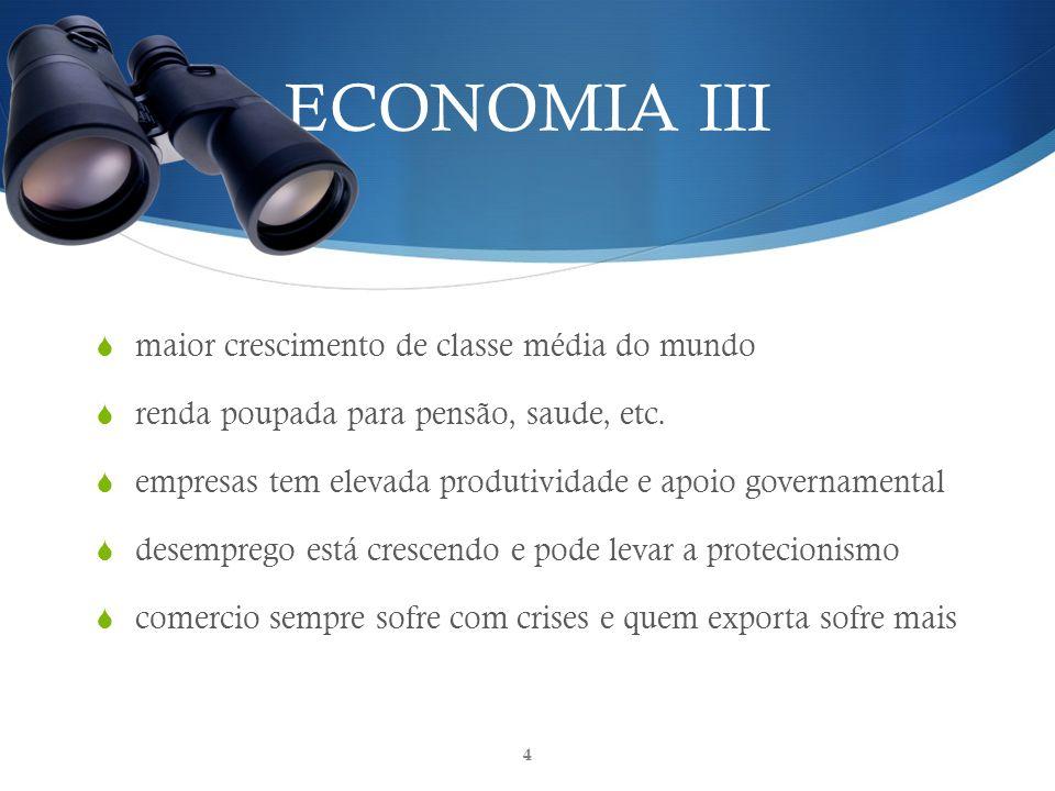 ECONOMIA III maior crescimento de classe média do mundo renda poupada para pensão, saude, etc.