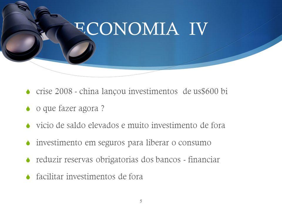 ECONOMIA IV crise 2008 - china lançou investimentos de us$600 bi o que fazer agora .