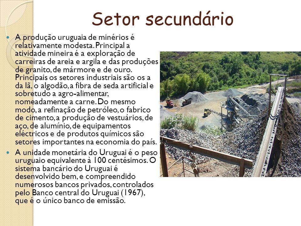 Setor secundário A produção uruguaia de minérios é relativamente modesta. Principal a atividade mineira é a exploração de carreiras de areia e argila
