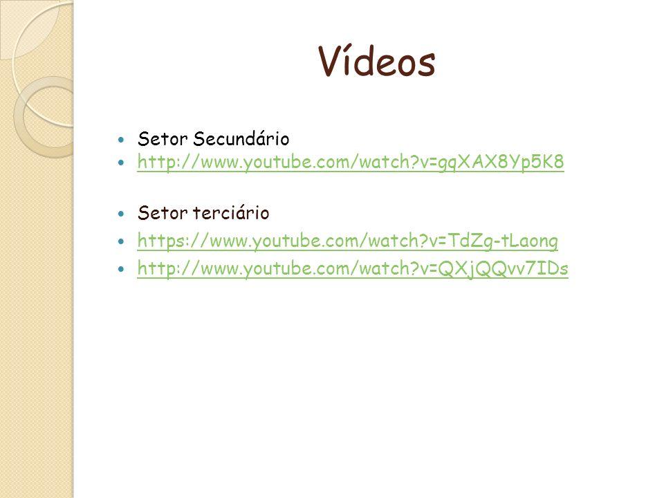 Vídeos Setor Secundário http://www.youtube.com/watch?v=gqXAX8Yp5K8 Setor terciário https://www.youtube.com/watch?v=TdZg-tLaong http://www.youtube.com/