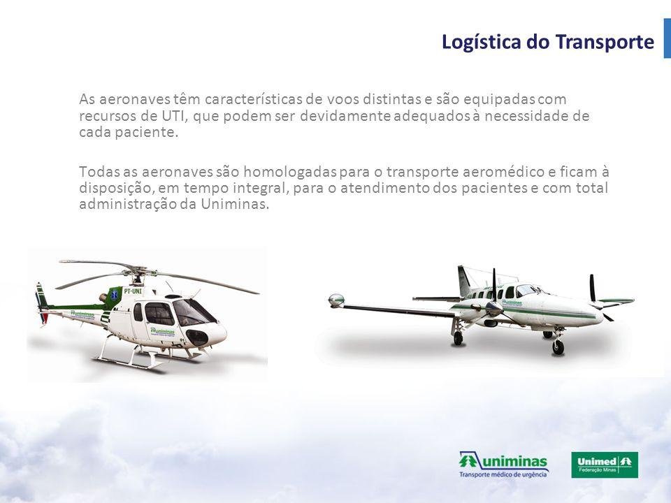 As aeronaves têm características de voos distintas e são equipadas com recursos de UTI, que podem ser devidamente adequados à necessidade de cada paciente.