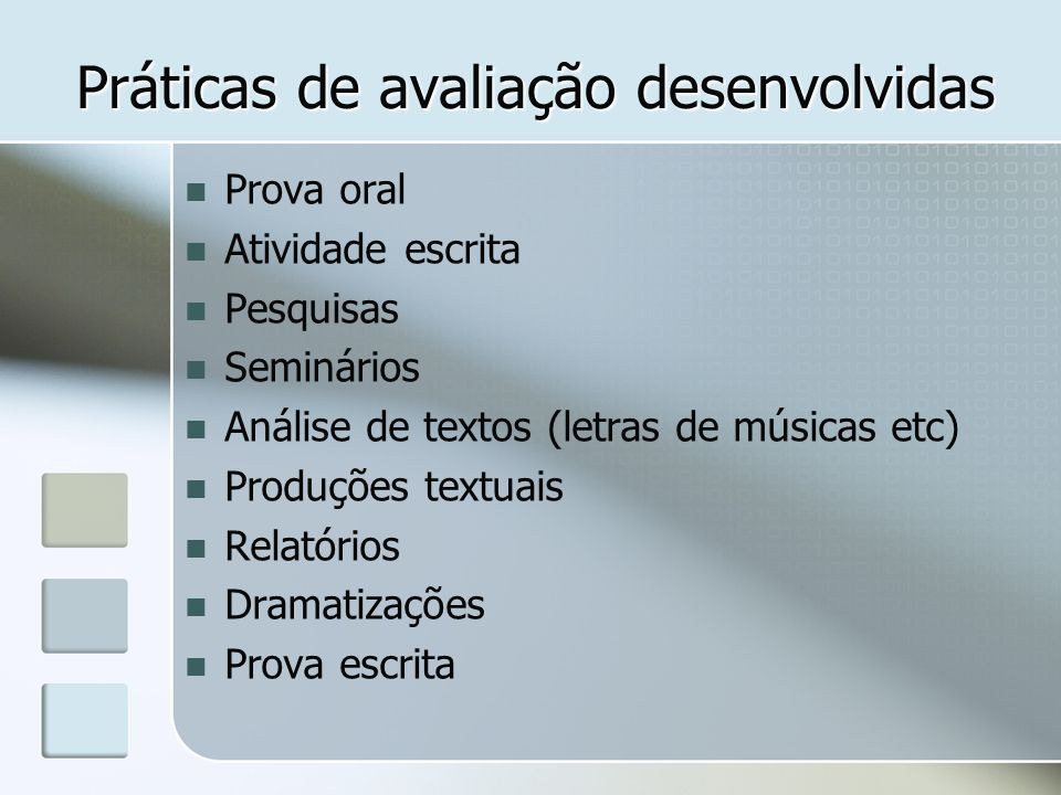 Práticas de avaliação desenvolvidas Prova oral Atividade escrita Pesquisas Seminários Análise de textos (letras de músicas etc) Produções textuais Rel