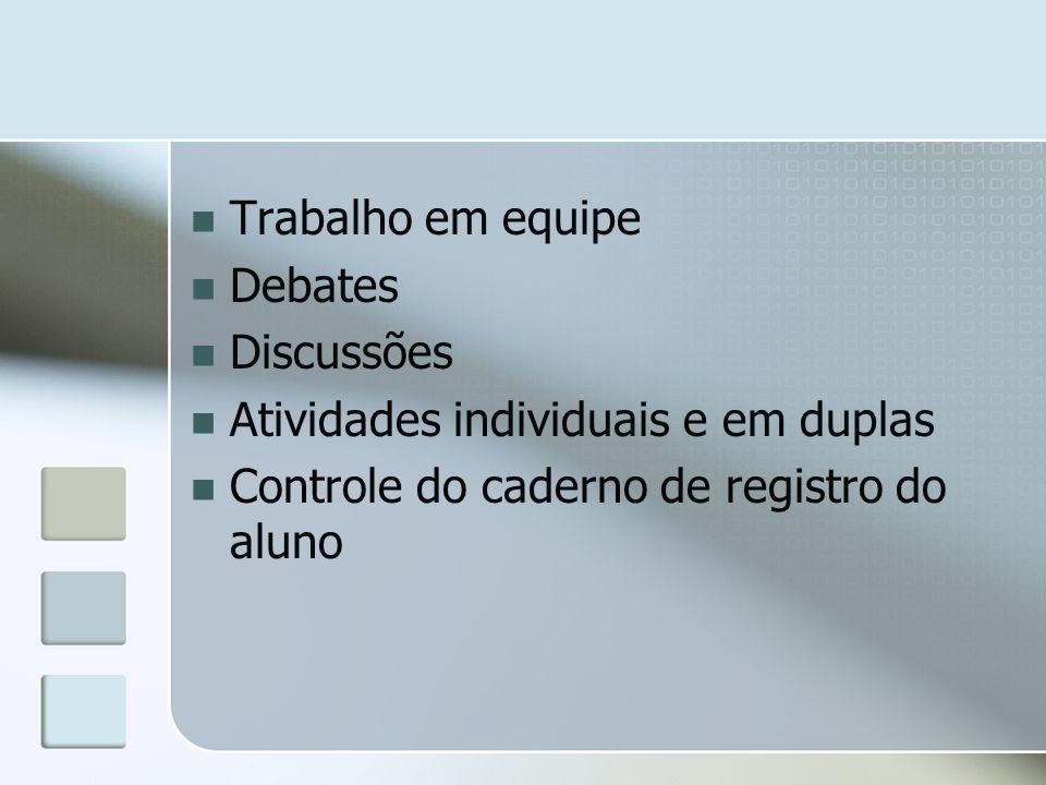 Trabalho em equipe Debates Discussões Atividades individuais e em duplas Controle do caderno de registro do aluno