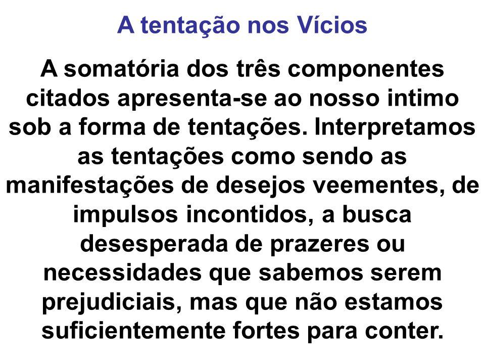 A tentação nos Vícios A somatória dos três componentes citados apresenta-se ao nosso intimo sob a forma de tentações. Interpretamos as tentações como