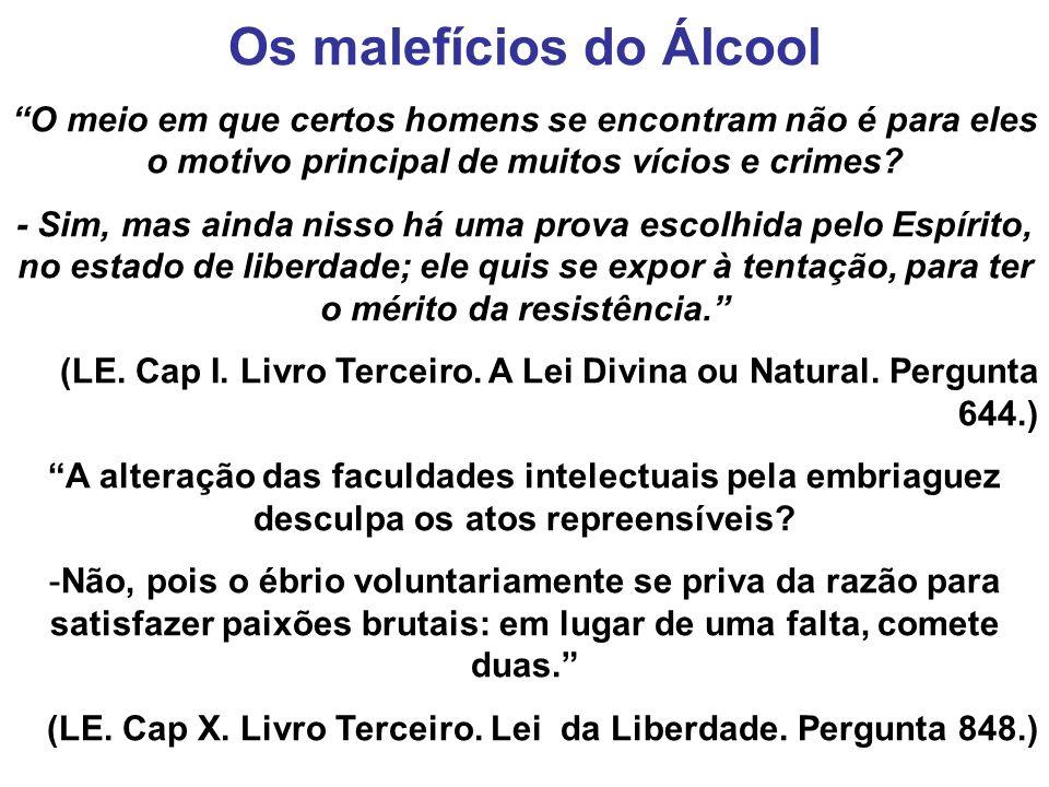 Os malefícios do Álcool O meio em que certos homens se encontram não é para eles o motivo principal de muitos vícios e crimes? - Sim, mas ainda nisso