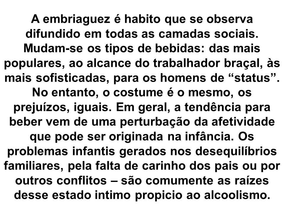 A embriaguez é habito que se observa difundido em todas as camadas sociais. Mudam-se os tipos de bebidas: das mais populares, ao alcance do trabalhado
